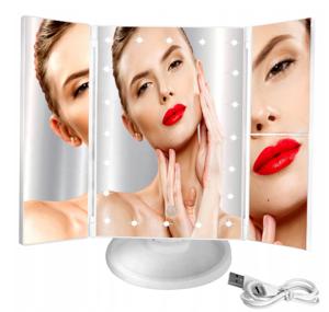 Lusterko kosmetyczne do makijażu LED - białe (L7032)