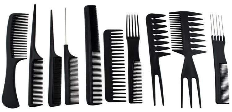 Grzebienie fryzjerskie w etui - zestaw 10 sztuk