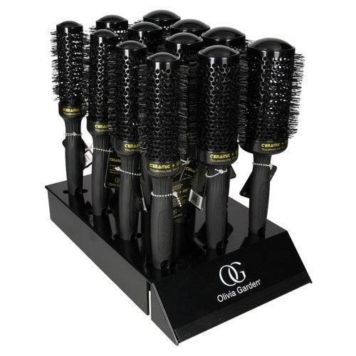 Zestaw szczotek Olivia Garden Ceramic Ion Black 12 sztuk + display